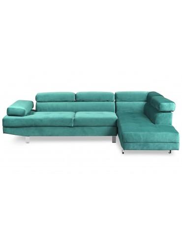 Canapé d'angle avec têtières relevables Alfa Velours Vert lf3045sggreenvelvet