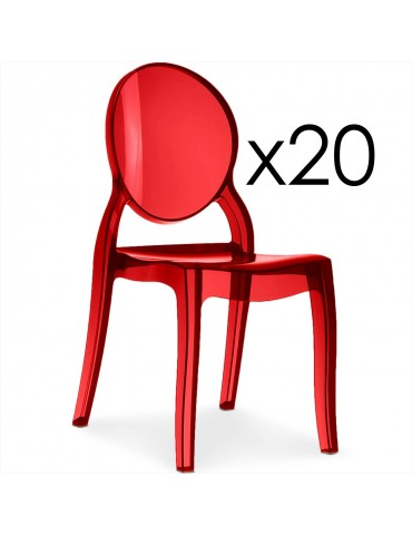 Lot de 20 chaises médaillon Diva Plexi Transparent Rouge zs9007lot20red