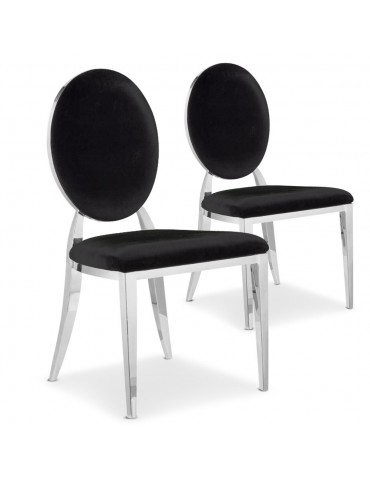 Lot de 2 chaises médaillon Sofia velours Noir sc2204lot2noir