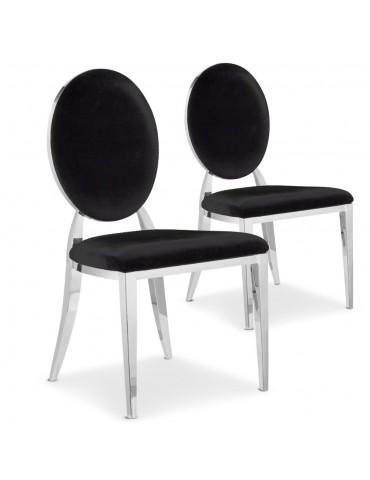 Lot de 2 chaises médaillon Sofia velours Noir sc2204lot2noir