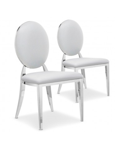 Lot de 2 chaises médaillon Sofia Simili Blanc sc2204lot2publanc