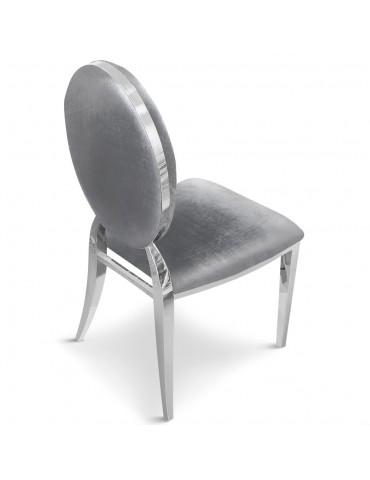 Lot de 2 chaises médaillon Sofia velours Argent sc2204lot2argent