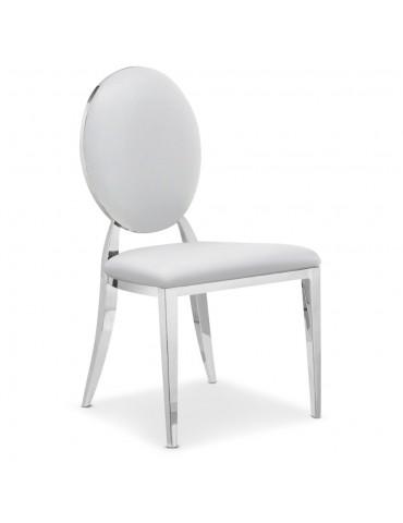 Lot de 2 chaises médaillon Sofia Simili Blanc sc2204lot2publanc