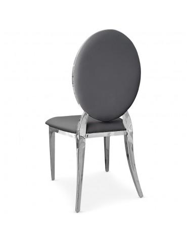 Lot de 2 chaises médaillon Sofia Simili Gris sc2204lot2pugris