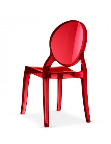 Lot de 4 chaises médaillon Diva Plexi Transparent Rouge zs9007lot4red