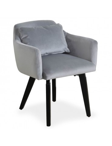 Chaise / Fauteuil scandinave Gybson Velours Argent LH5030silver