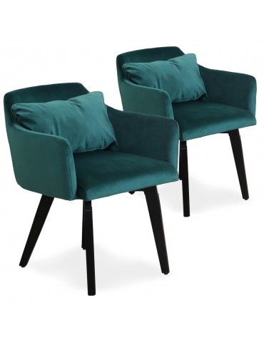 Lot de 2 fauteuils scandinaves Gybson Velours Vert LH5030lot2green