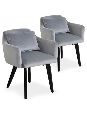 Lot de 2 fauteuils scandinaves Gybson Velours Argent LH5030lot2silver
