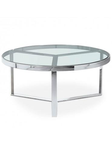 Table basse Prisma Verre Transparent et pieds Argent ect031silverclear