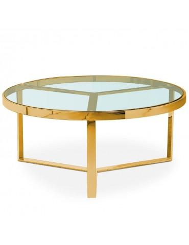 Table basse Prisma Verre Transparent et pieds Or ect031goldclear