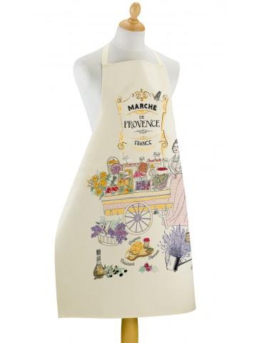 Grand tablier de cuisine Les marchés de Provence Ecru 96 x 72 7051010000Torchons & Bouchons