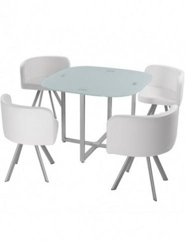 Table et chaises Mosaic 90 Blanc p803blanc