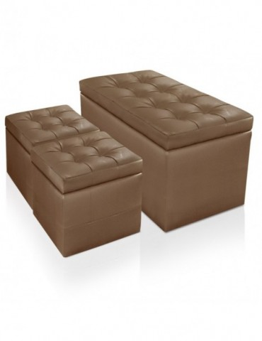 Banquette Coffre Panky + 2 poufs Taupe pa814taupe