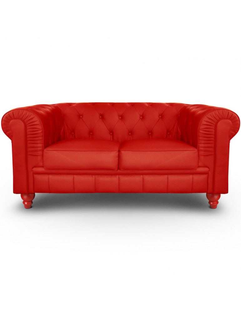 Canapé 2 places Chesterfield Rouge A605-2-Rouge