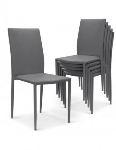 Lot de 6 chaises empilables Modan PU Gris a84pulot6gris