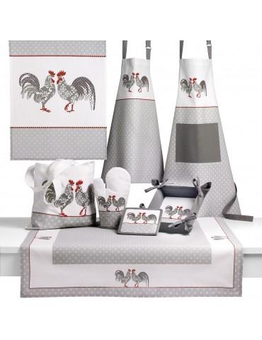 Nappe carrée Cocorico Blanc/gris 90 x 90 4951070000Les Ateliers du Linge