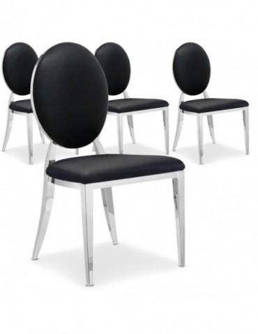 Lot de 4 chaises médaillon Sofia Noir ft83lot4noir