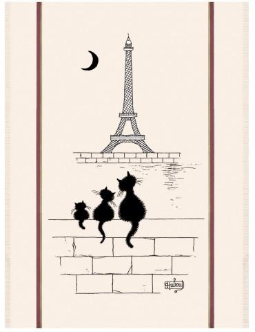 Grand Torchon Dubout Chats Tour Eiffel Ecru 3051107000Torchons & Bouchons