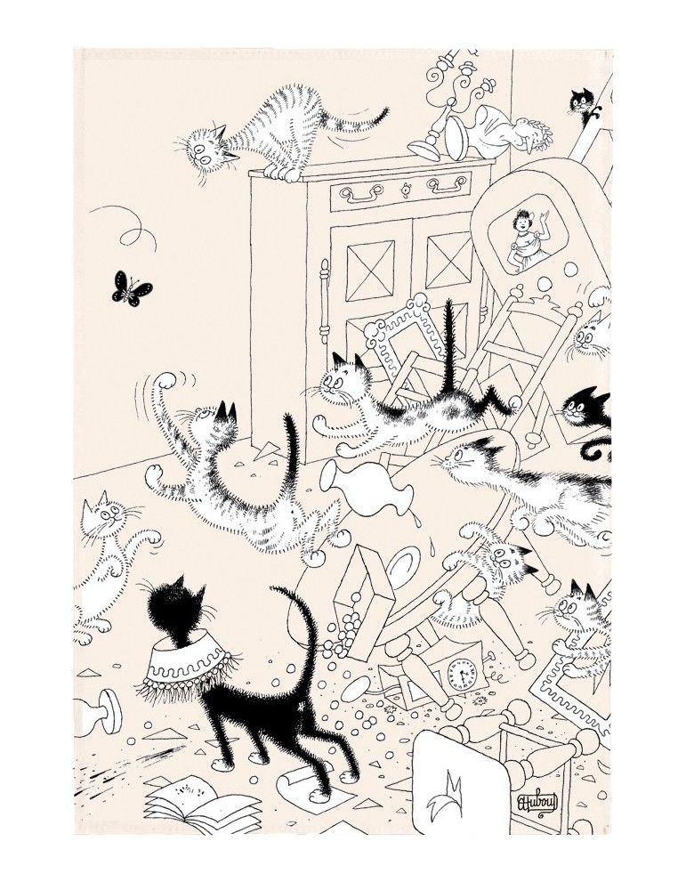 Torchon Dubout La chasse au papillon Ecru 48 x 72 6935010000Torchons & Bouchons