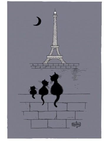 Torchon Dubout Chats Tour Eiffel Gris 48 x 72 6937075000Torchons & Bouchons
