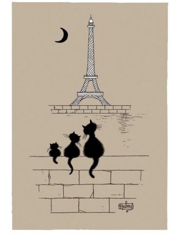 Torchon Dubout Chats Tour Eiffel Ficelle 48 x 72 6937080000Torchons & Bouchons