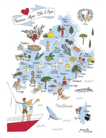 Torchon Carte PACA Blanc 48 x 72 6992010000Torchons & Bouchons