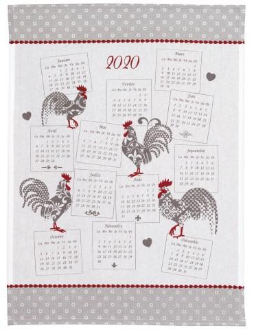 Torchon Calendrier 2020 Cocorico Blanc/gris 70 x 50 7353070000Ça et Là