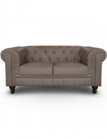 Canapé 2 places Chesterfield Taupe A605-2-Taupe