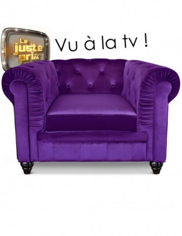 Fauteuil Chesterfield velours Violet a605v1violet