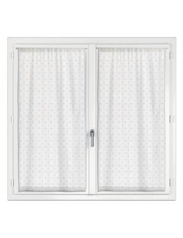 2 rideaux voile Touch Fantaisie Blanc 45 x 90 2942010202Les Ateliers du Linge