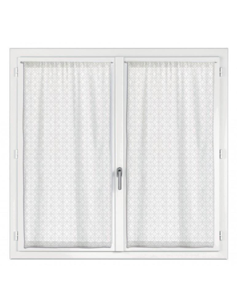 2 rideaux voile Touch Fantaisie Blanc 60 x 120 2965010202Les Ateliers du Linge