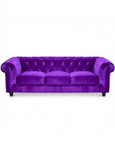 Canape 3 places Chesterfield Velours Violet a605v3violet