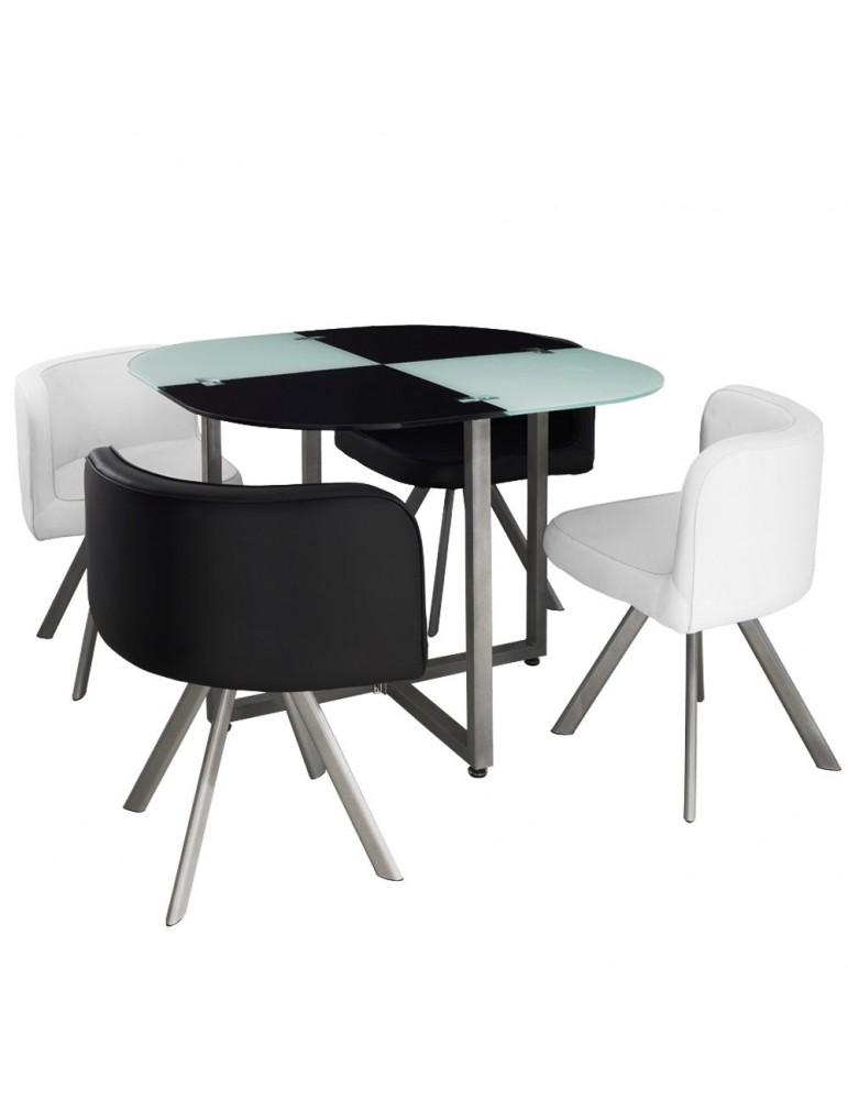 Table et chaises Mosaic 90 Blanc et Noir p803blancnoir