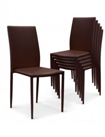 Lot de 30 chaises empilables Modan Simili (P.U) Marron a84pulot30marron