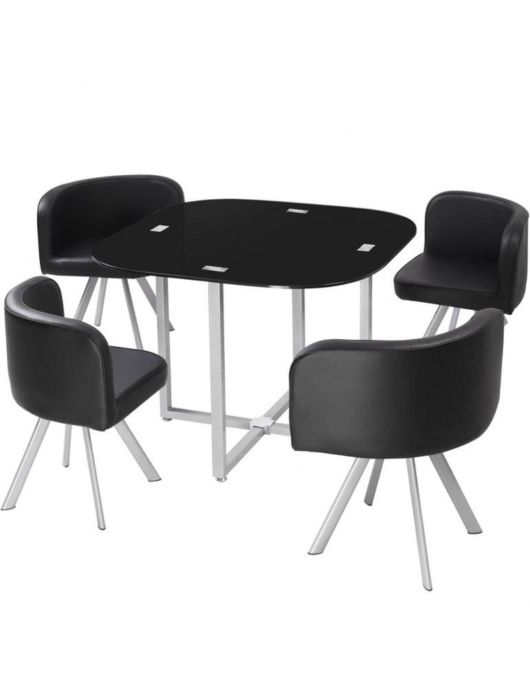 Table et chaises Mosaic 90 Noir p803noir