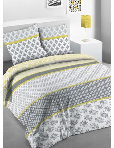 Parure de lit 2 personnes Eva avec housse de couette et taies d'oreiller Imprimée 260 x 240 3367000503Les Ateliers du Linge