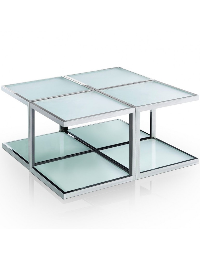 Table basse 4 éléments Cuadro Blanc mlm112245blanc