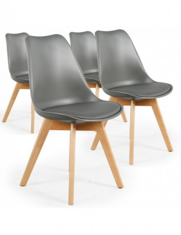 Lot de 4 chaises style scandinave Bovary Gris ty01lot4gris