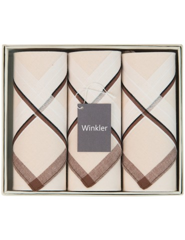 Boîte de 3 mouchoirs Luxe homme Sam Taupe 40 x 40 cm 7187080803Winkler