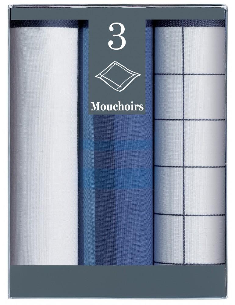 Boîte de 3 mouchoirs Diffusion Homme Bruno Bleu Marine 43 X 43 6304066803Winkler