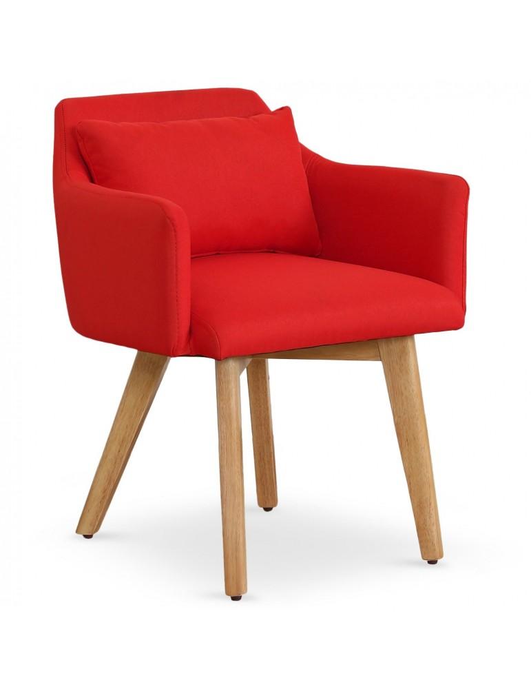 Lot de 20 chaises / fauteuils scandinaves Gybson Tissu Rouge lf5030lot20redfabric
