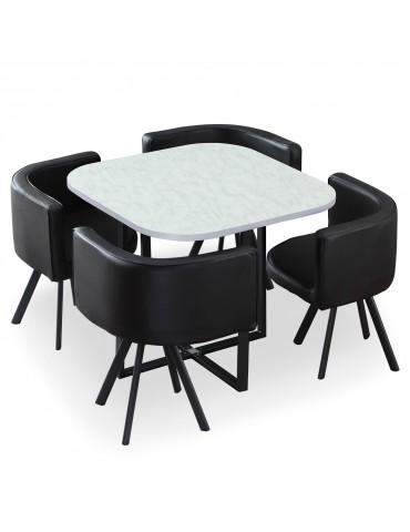 Table et chaises Oslo Effet Marbre et Simili Noir p804blackmarble
