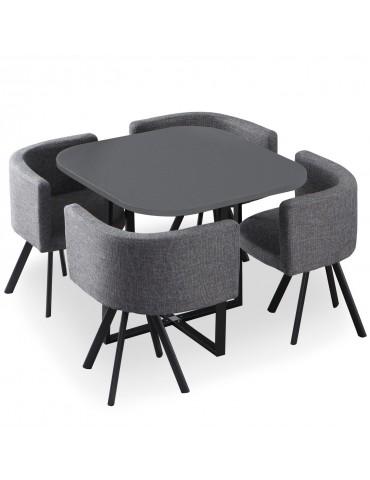 Table et chaises Oslo Gris et Tissu Gris f804blackgrey
