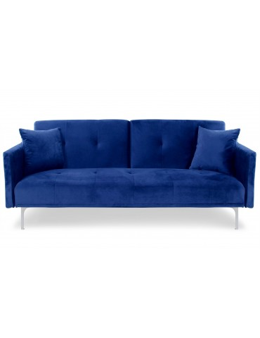 Canapé convertible 3 places Carla Velours Bleu jh930velvetblue
