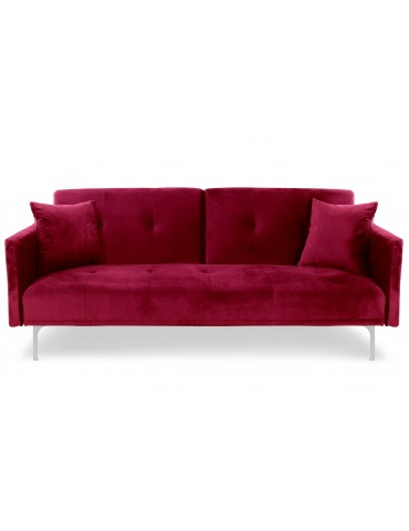 Canapé convertible 3 places Carla Velours Rouge jh930velvetred
