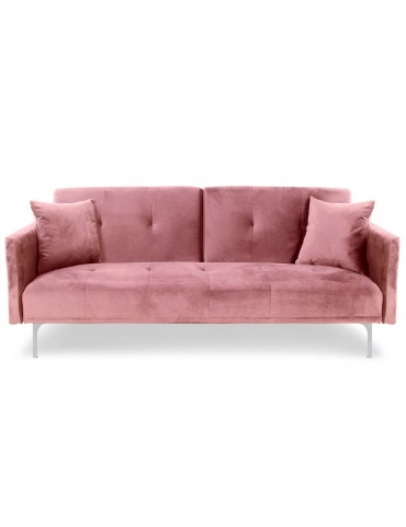 Canapé convertible 3 places Carla Velours Rose jh930velvetpink