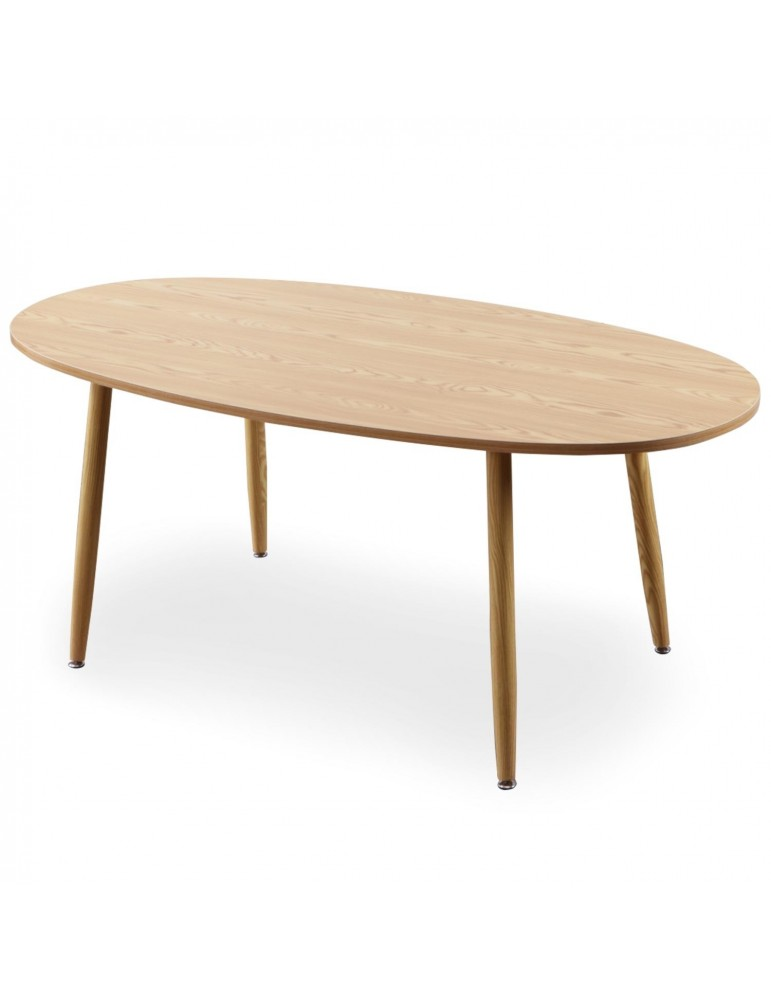 Table ovale scandinave Nolane Chêne clair 180 x 90 x 75 cm ji605ash