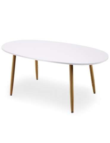Table ovale scandinave Nolane Blanc 180 x 90 x 75 cm ji605white