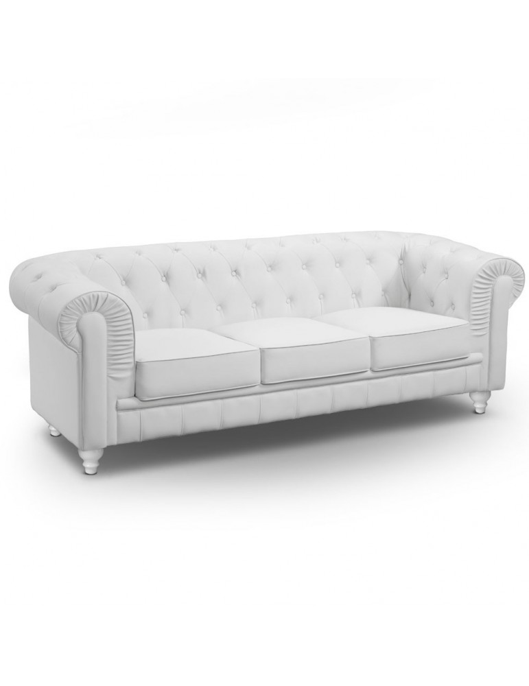 Canapé 3 places Chesterfield Blanc A605-3-Blanc