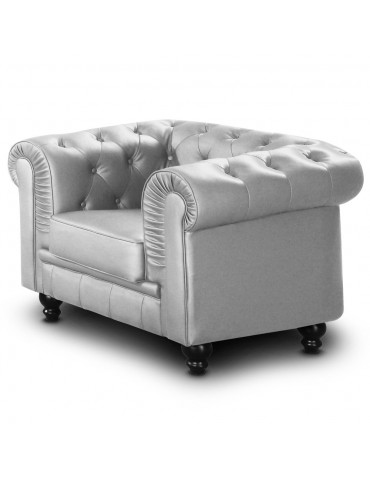Fauteuil Chesterfield Argent A605-1-Argent